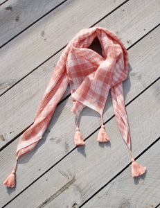 Coral Square Scarf with Tassel Corners