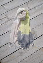 Colour Block Spring Summer Scarf , in grey, beige and cream with a highlight yellow block, with Cream Tassels