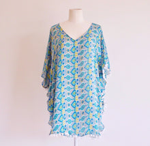 Green Yellow and Blue Tile Print Pom Pom Kaftan