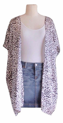 Black and White Animal Print Kimono - Mid Length