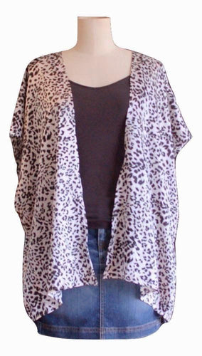 Black and White Animal Print Kimono - Short Length