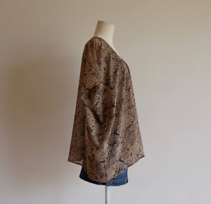 Black and Tan Block Print Kimono - Short Length