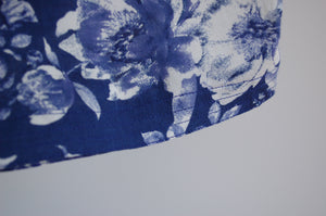 Blue and White Floral Print Pant -stitch detail