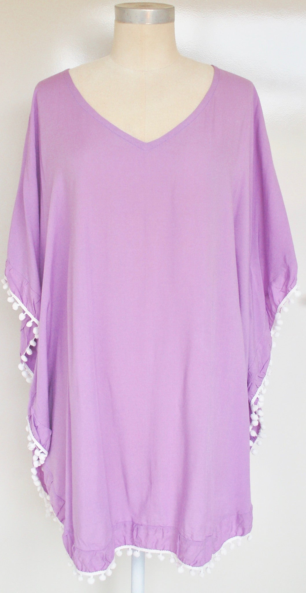 Lilac Kaftan with white Pom Poms