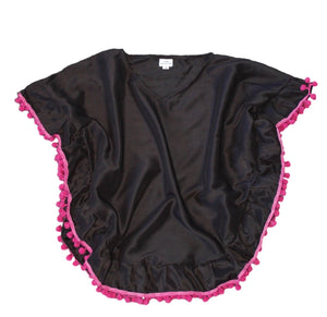 Girls Black Kaftan with Pink Pom Pom Trim