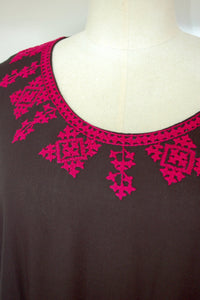 Black Kaftan with Hot Pink Embroidery