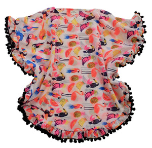 Girls Neon Tropical Bird Print Pom Pom Kaftan