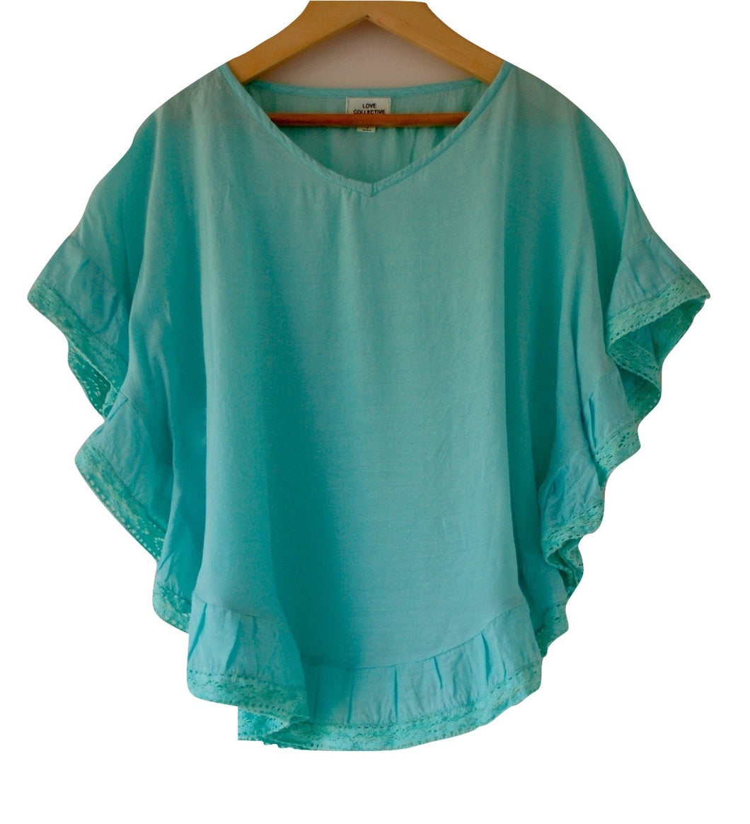 Girls Aqua Lace Trim Kaftan