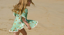 Girls Green Hummingbird Print Kaftan