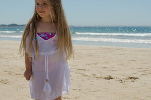 Girls White Kaftan with White Embroidery