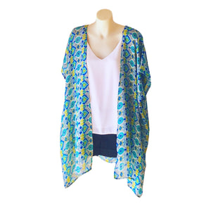 Green, Yellow and Blue Tile Print Kimono - Mid Length