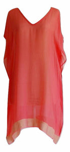 Hot Coral Kaftan with Gold Trim - sheer