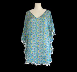 Green, yellow and blue tile print pom pom kaftan