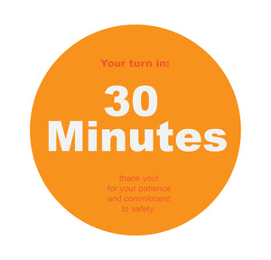 Wait Time 30 Min Orange Floor Sticker