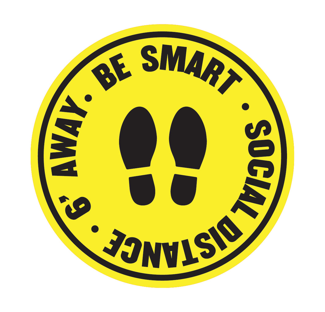 Be Smart Social Distance Yellow Floor Sticker