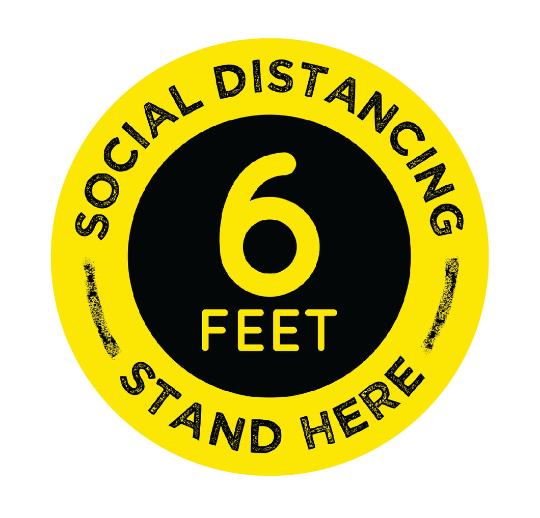 Social Distance Stand Here Black Yellow Floor Sticker