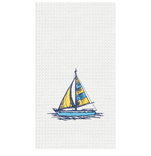 Come Sail Away With Me! Embroidered Waffle Weave Towel