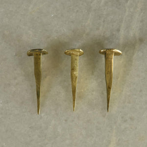 Brass Plated Forged Iron Nail - set of 3