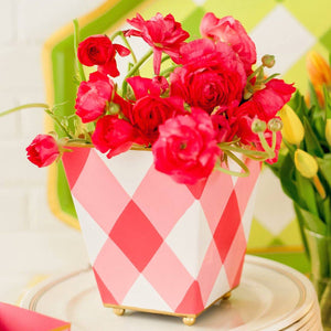 Buffalo Plaid Pink Square Cachepot