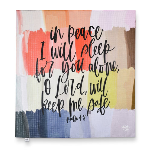 """In Peace I Will Sleep"" Muslin Blanket/Wall Hanging from Crew + Co"