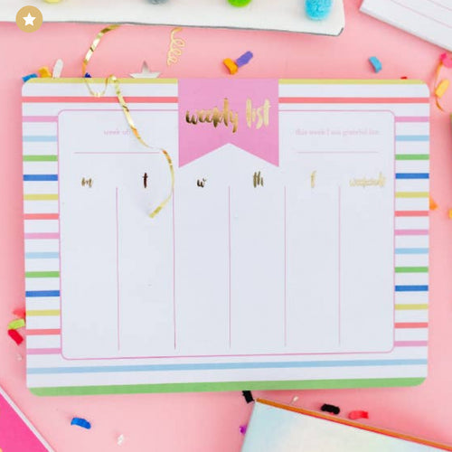 Striped Weekly Desk Planner