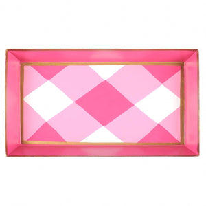 Buffalo Plaid Pink Guest Towel Tray
