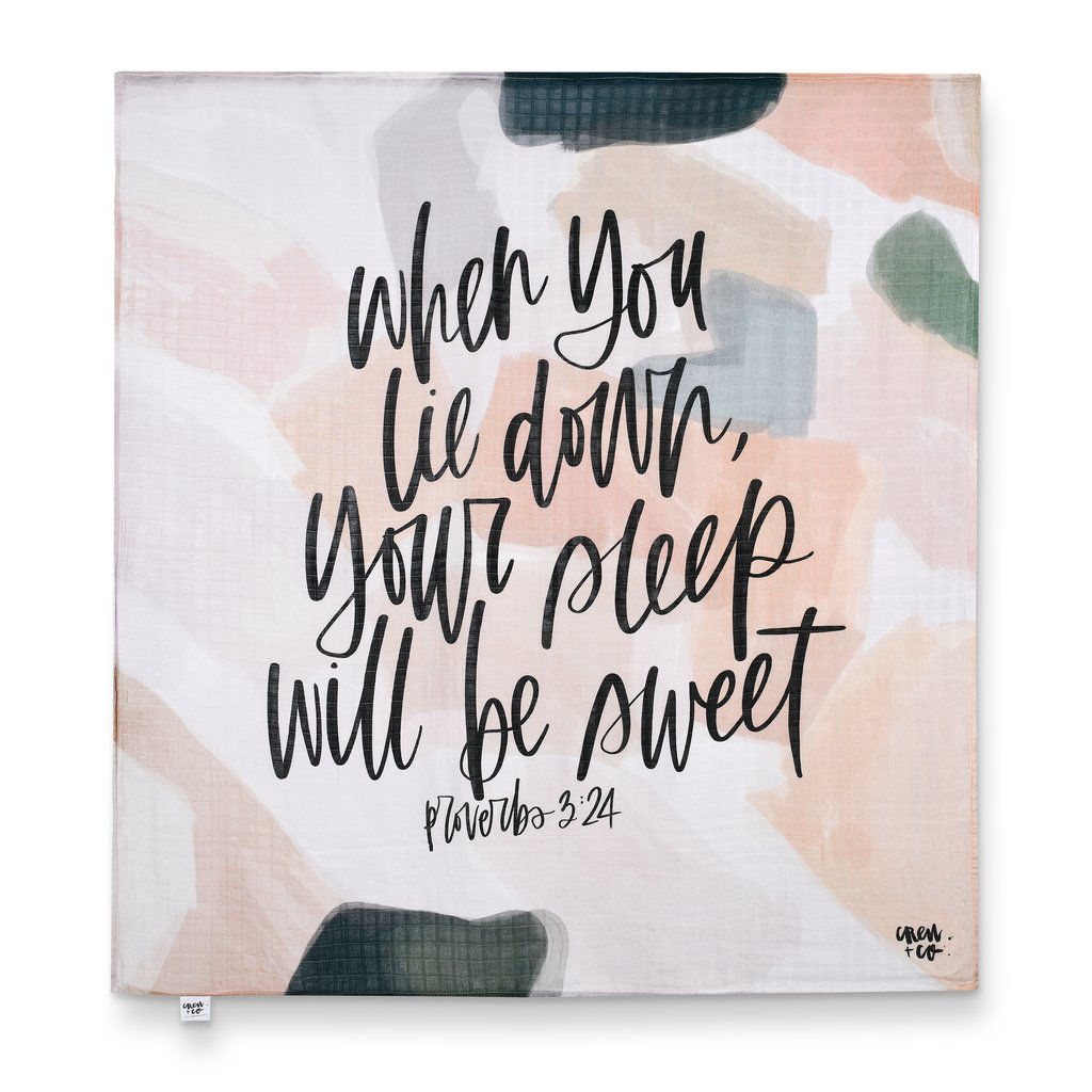 """Your Sleep Will Be Sweet"" muslin swaddle or wall hanging from Crew + Co."