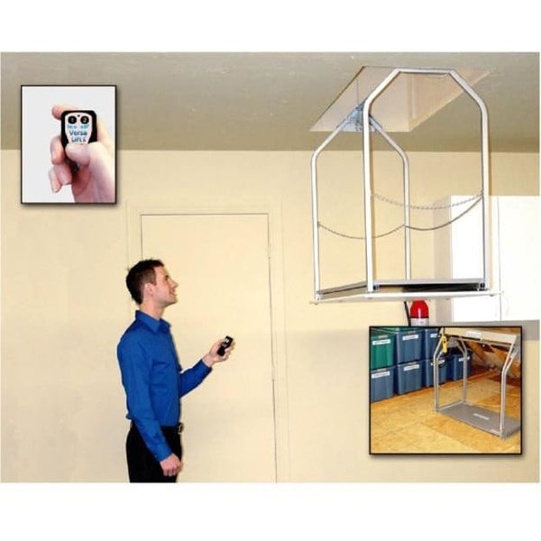 Versa Lift Model 24W Wireless Remote 8-11 ft - Storage Lift  Give yourself more garage storage.  Free up garage cabinets and garage shelving.