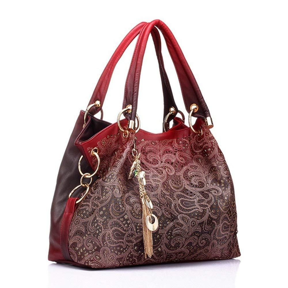 New Openwork Carved Tote Peacock,Fashion Hollow Out Faux Leather Tote Women Shoulder Bag Handbag with Dangles Red