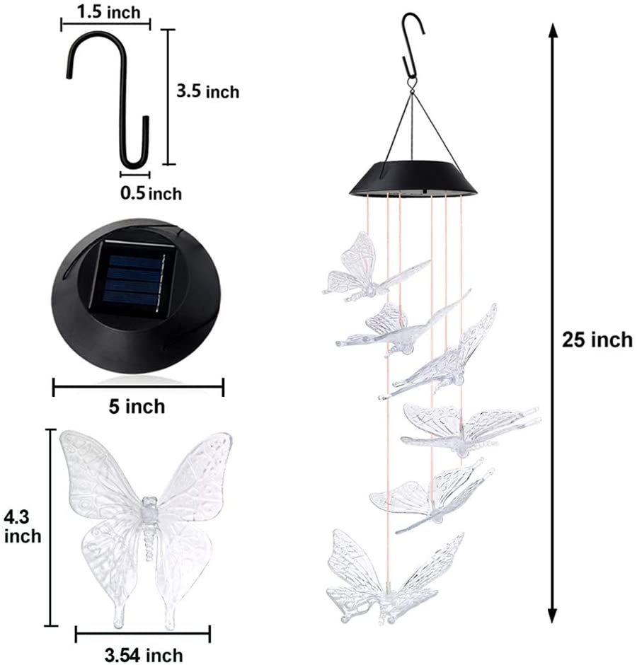Color-Changing Solar LED Waterproof Butterfly Wind Chimes (BUY 2 FREE SHIPPING)