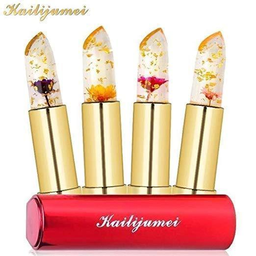 [Limited Edition] Kailijumei flower jelly lipstick set of 4 colors Temperature Change Moisturizer flower lip stick By BeautyFully