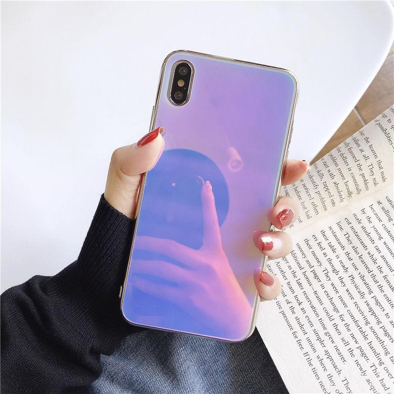 Colorful Shockproof Glass Case For iPhone