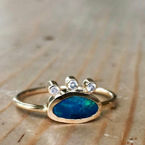 third eye ring.  australian black opal 14k with 3 little fine, full cut 2mm diamonds