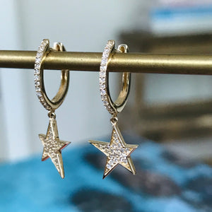 dangle star diamond huggies 14k
