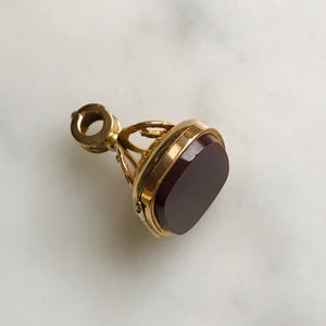 antique fob with carnelian. secret compartment. 9k gold.