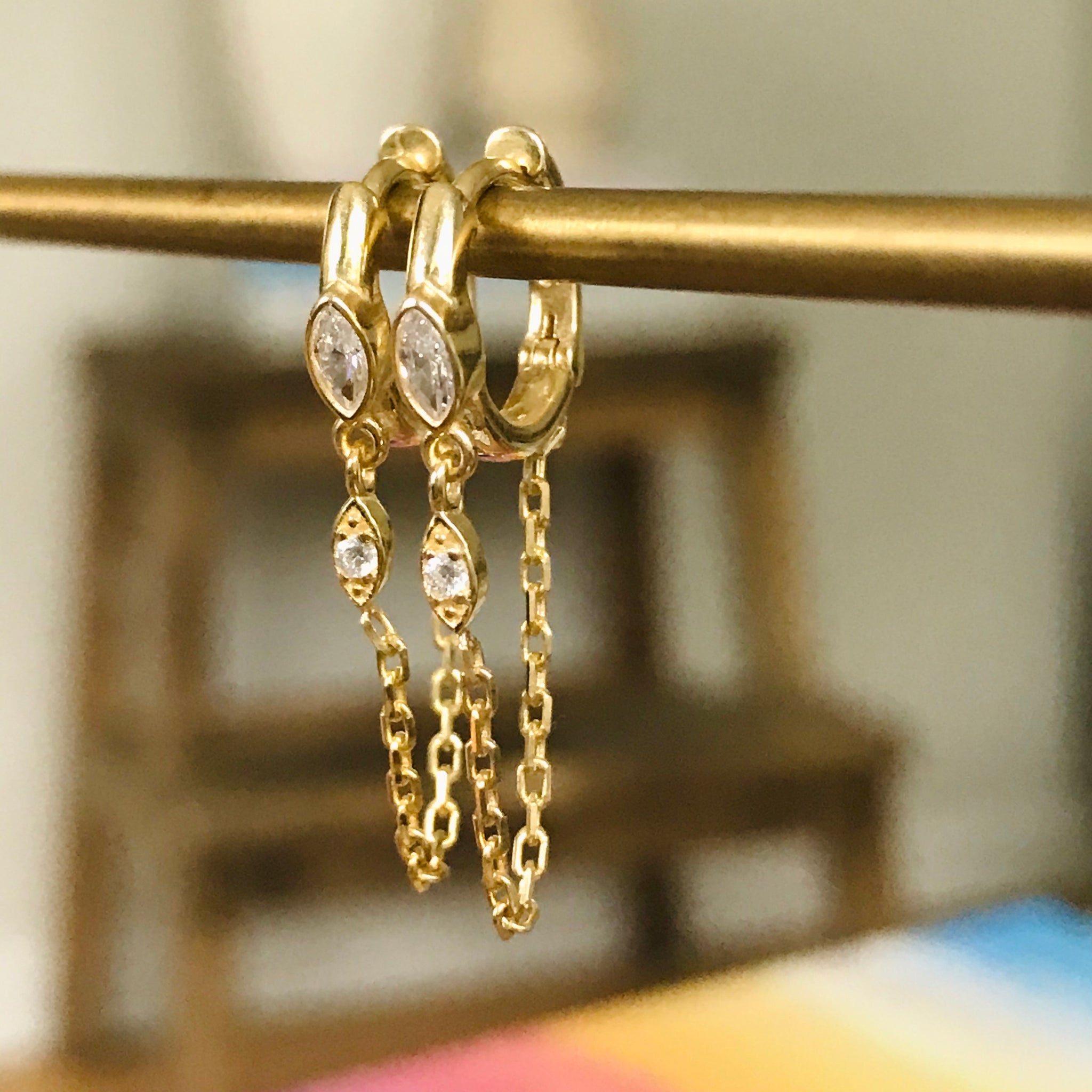 vermeil chain huggie earrings