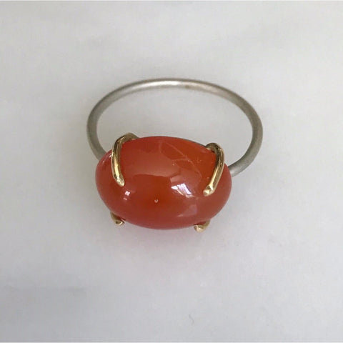 carnelian cabachon in sterling silver + 18k gold