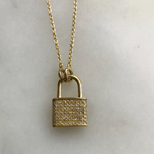 "pavé diamond lock necklace 14k in adjustable 15 - 20"" chain"