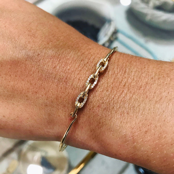 14k gold bangle with diamond links