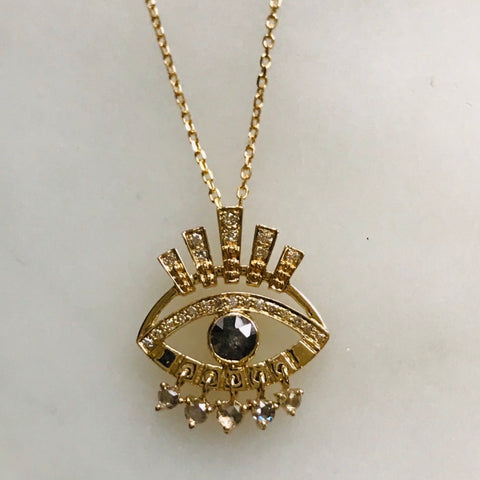 grey diamond sun eye dangle diamond necklace 14k