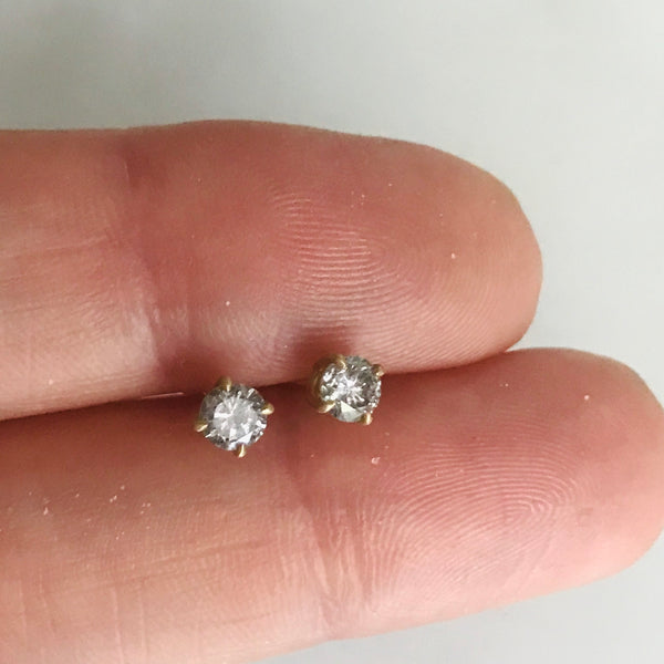14k gold salt + pepper full cut 1/2tcw diamond studs