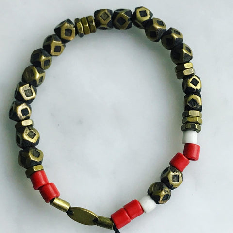 men's faceted brass bead stretch bracelet
