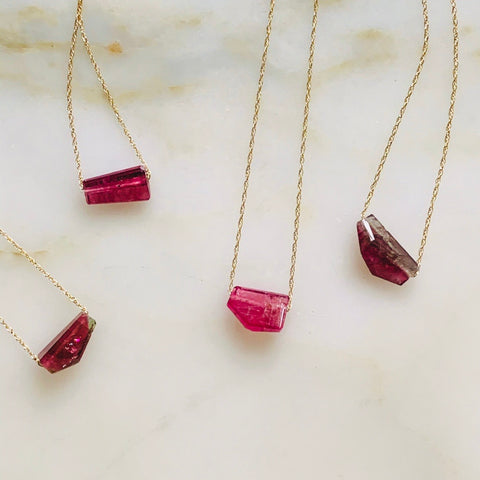 brazilian pink tourmaline on 14k gold chain