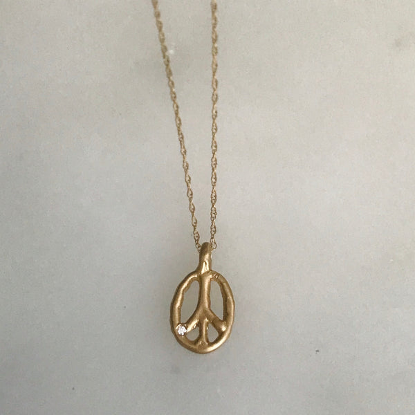 14k gold peace sign necklace with diamond