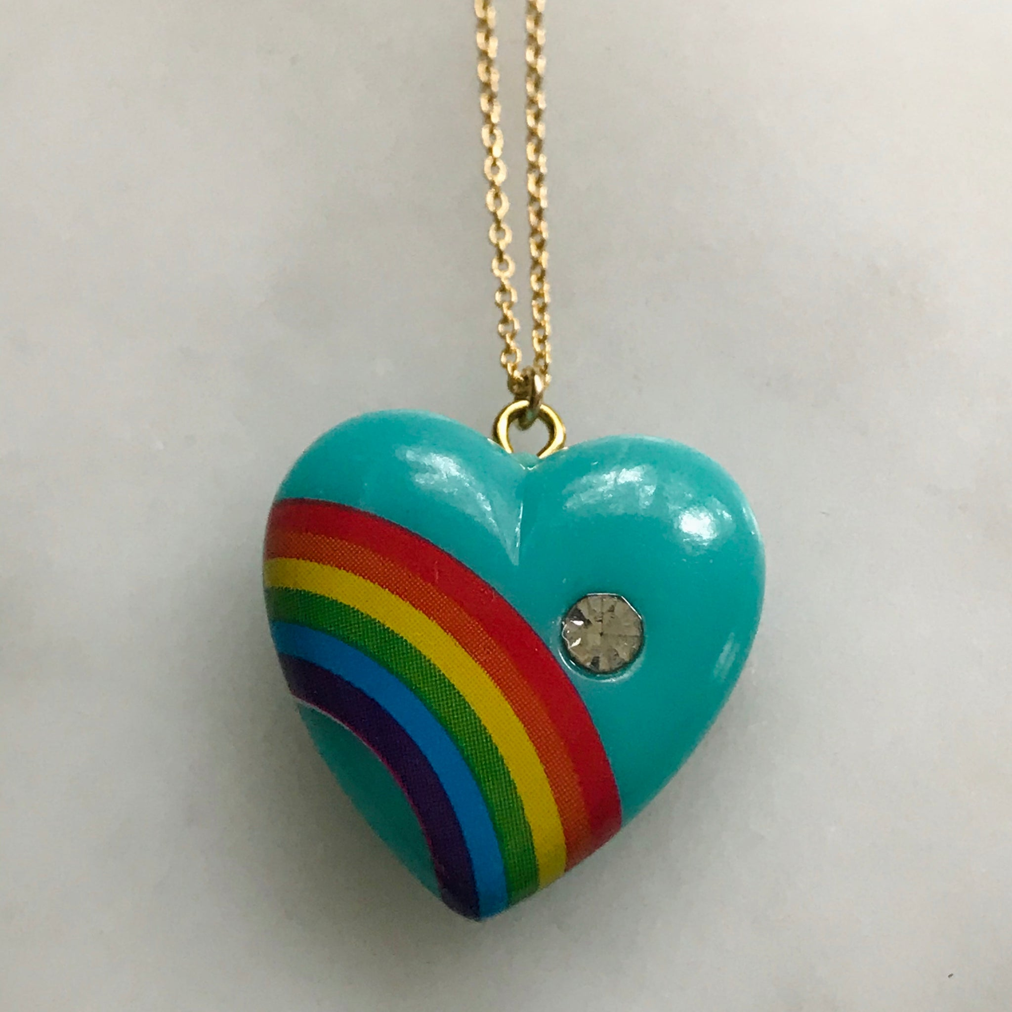 vintage large turquoise rainbow heart with gold filled chain