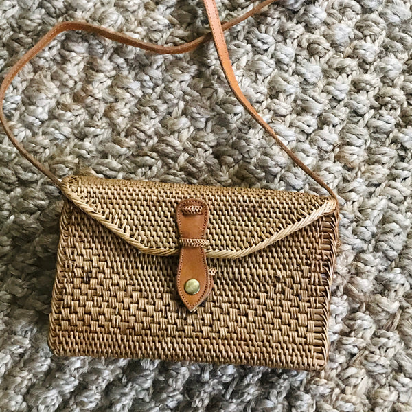 rectangular rattan cross body bag