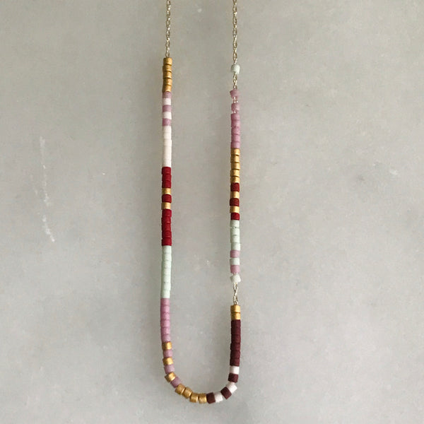 micro bead necklace on 14k gold chain