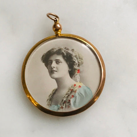victorian two sided photo locket. 12k gold. original photos.