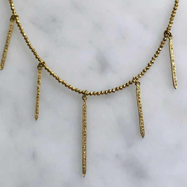 vermeil diamond spike necklace