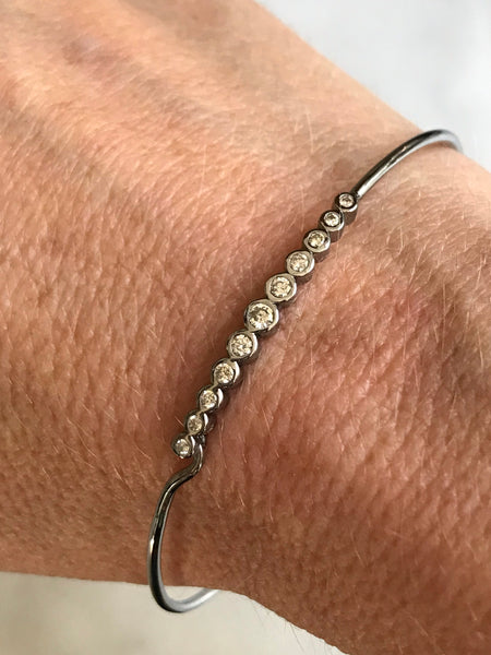 diamond silver bangle bracelet